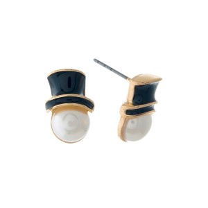 "Gold tone, Christmas snowman stud earrings with a pearl bead face. Approximately 1/2"" in size."