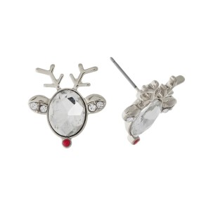 "Silver tone, reindeer stud earrings with a clear rhinestone face. Approximately 3/4"" in size."