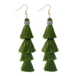 "Olive green, tiered tassel earring with gray beaded accents. Approximately 3.5"" in length."