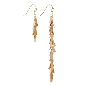 "Gold tone fishhook, asymmetrical earrings with rectangle shaped charms. Approximately 2"" and 4"" in length."