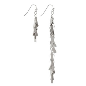 "Silver tone fishhook, asymmetrical earrings with rectangle shaped charms. Approximately 2"" and 4"" in length."