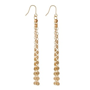 "Gold tone fishhook earrings with circle chain tassels. Approximately 3"" in length."