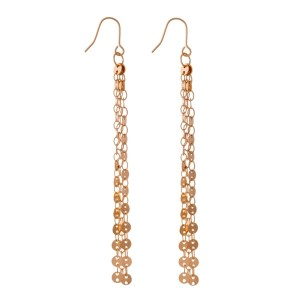 "Rose gold tone fishhook earrings with circle chain tassels. Approximately 3"" in length."