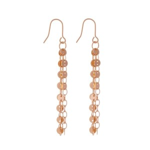 "Rose gold tone fishhook earrings with circle chain tassels. Approximately 2"" in length."