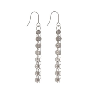 "Silver tone fishhook earrings with circle chain tassels. Approximately 2"" in length."