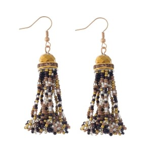 "Gold tone fishhook earrings with a brown and taupe, seed-bead tassel. Approximately 2"" in length."