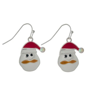 "Silver tone fishhook earrings with Santa Claus. Approximately 1"" in length."