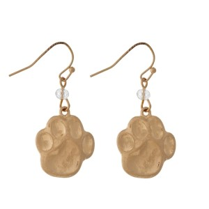 "Burnished metal, paw print earrings. Approximately 1/2"" in length."