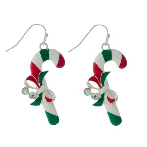 "Candy cane fishhook earrings with iridescent rhinestones. Approximately 1.5"" in length."