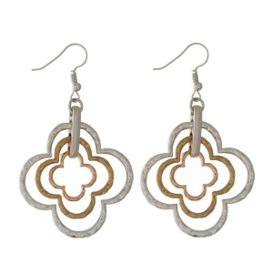 "Two tone, fishhook earrings with a clover shape. Approximately 2.5"" in length."