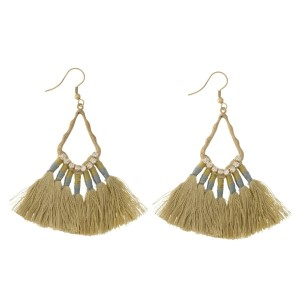 "Burnished gold tone fishhook earrings with gold, thread, fan tassels and rhinestone accents. Approximately 2.5"" in length."