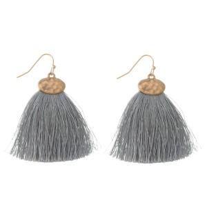 """Gold tone fishhook earrings with a gray threaded, fan tassel. Approximately 2"""" in length."""