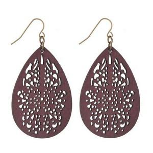 """Fishhook earrings with a filigree, wooden, teardrop shape. Approximately 2.25"""" in length."""