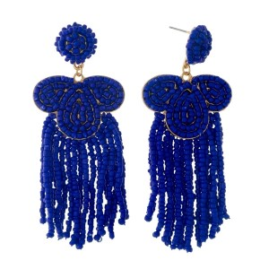 "Royal blue beaded statement earrings with beaded fringe. Approximately 3.25"" in length."