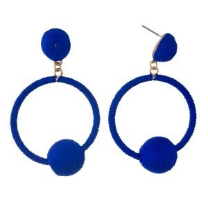 """Thread wrapped, open circle, stud earrings with a bead accent. Approximately 2.25"""" in length."""