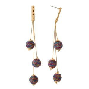 "Gold tone post style earrings with strands of thread wrapped beads. Approximately 4"" in length."
