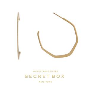 """Secret Box 14 karat gold over brass hexagonal hoop earrings. Approximately 1.5"""" in length."""