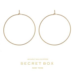 "Secret Box 14 karat gold over brass dainty hoop earrings. Approximately 1.5""d in diameter."