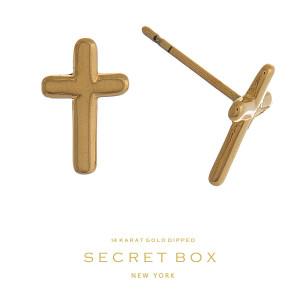 """Secret Box 14 karat gold over brass cross stud earrings. Approximately 1/2"""" in length."""