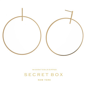 """Secret Box 14 karat gold over brass stud earrings with an open circle shape. Approximately 2"""" in length."""