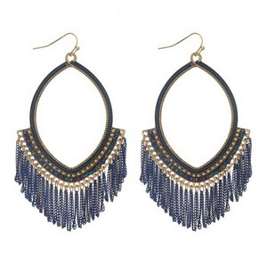 """Burnished gold tone fishhook earrings with an open oval shape and blue chain fringe. Approximately 4"""" in length."""