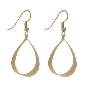 """Dainty fishhook earrings with an open teardrop shape and a matte finish. Approximately 1.75"""" in length."""