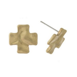 "Hammered metal, cross stud earrings. Approximately 1/2"" in size."