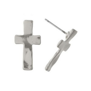 "Metal, cross stud earrings with a hammered texture and matte finish. Approximately 1"" in size."