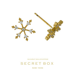"Secret Box 14 karat gold dipped over brass snowflake stud earrings. Approximately 1/3"" in length. Sold in a gift box."