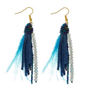 """Gold tone fishhook earrings with beaded, feather, and faux leather tassels. Approximately 3"""" in length."""