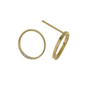"""Dainty, open circle, stud earrings with clear rhinestone accents. Approximately 1/2"""" in diameter."""