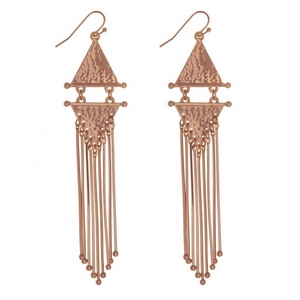 "Metal fishhook earrings with two, hammered, triangle shapes and metal fringe. Approximately 4"" in length."
