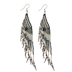 """Silver tone fishhook earrings with a triangle shape and beaded fringe. Approximately 5"""" in length."""