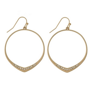 """Dainty fishhook earrings with an open circle shape and clear rhinestone accents. Approximately 1.75"""" in length."""