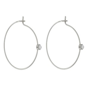 """Dainty full circle, hoop earrings with a rhinestone accent. Approximately 1"""" in diameter."""