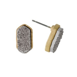 "Dainty stud earrings with a faux druzy stone and a hexagonal shape. Approximately 1/2"" in length."