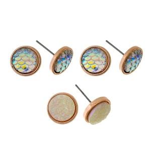 Three pair stud earring set with a mermaid theme.