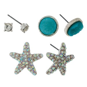 Three pair stud earring set with a beach and starfish theme.