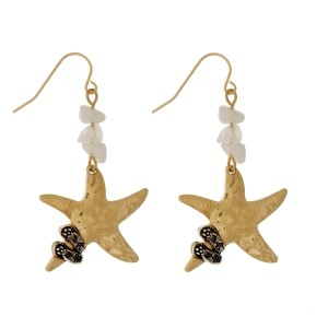 "Burnished, fishhook earrings with chip stones and a starfish focal. Approximately 2"" in length."