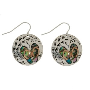 "Silver tone fishhook earrings with a beach them and abalone accent. Approximately 1.25"" in size."