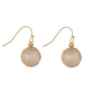 """Gold tone fishhook earrings with a circle shaped, faux druzy stone. Approximately 3/4"""" in length."""