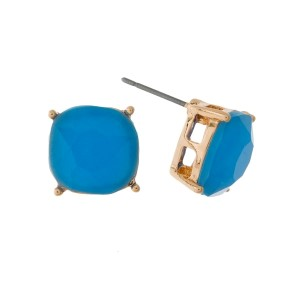 """Dainty, gold tone stud earrings with a faceted, square rhinestone. Approximately 1/2"""" in size."""