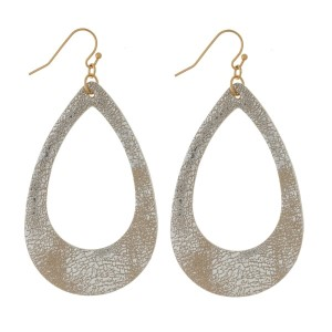 """Gold tone fishhook earrings with a faux leather, teardrop shape and a metallic finish. Approximately 2.25"""" in length."""