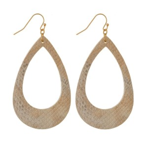 """Gold tone fishhook earrings with a faux leather, teardrop shape and a snakeskin pattern. Approximately 2.25"""" in length."""