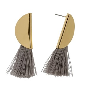 """Gold tone stud earrings with a half circle shape and a thread tassel. Approximately 2"""" in length."""