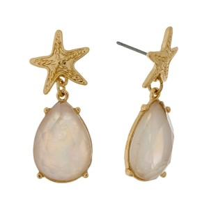 "Starfish stud earrings with a mother of pearl teardrop rhinestone. Approximately 1"" in length."
