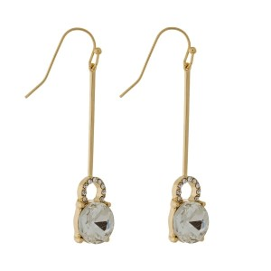 """Gold tone, fishhook earrings with a circle rhinestone. Approximately 2"""" in length."""