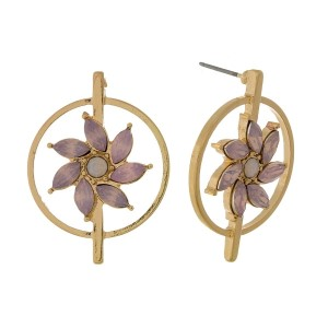 "Gold tone, circle shaped, stud earrings with a rhinestone flower focal. Approximately 1"" in diameter."