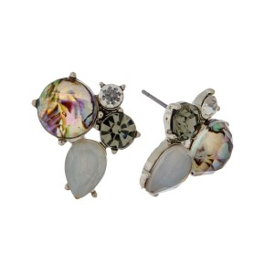 """Rhinestone cluster stud earrings with a silver tone backing. Approximately 3/4"""" in size."""