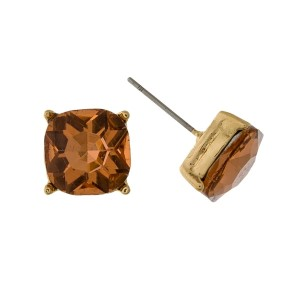 """Rhinestone stud earrings with a gold tone backing. Approximately 1/3"""" in size."""